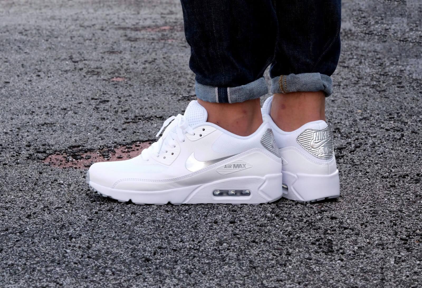 Nike Air Max 90 Ultra 2.0 Essential WhiteMetallic Silver White 875695 103
