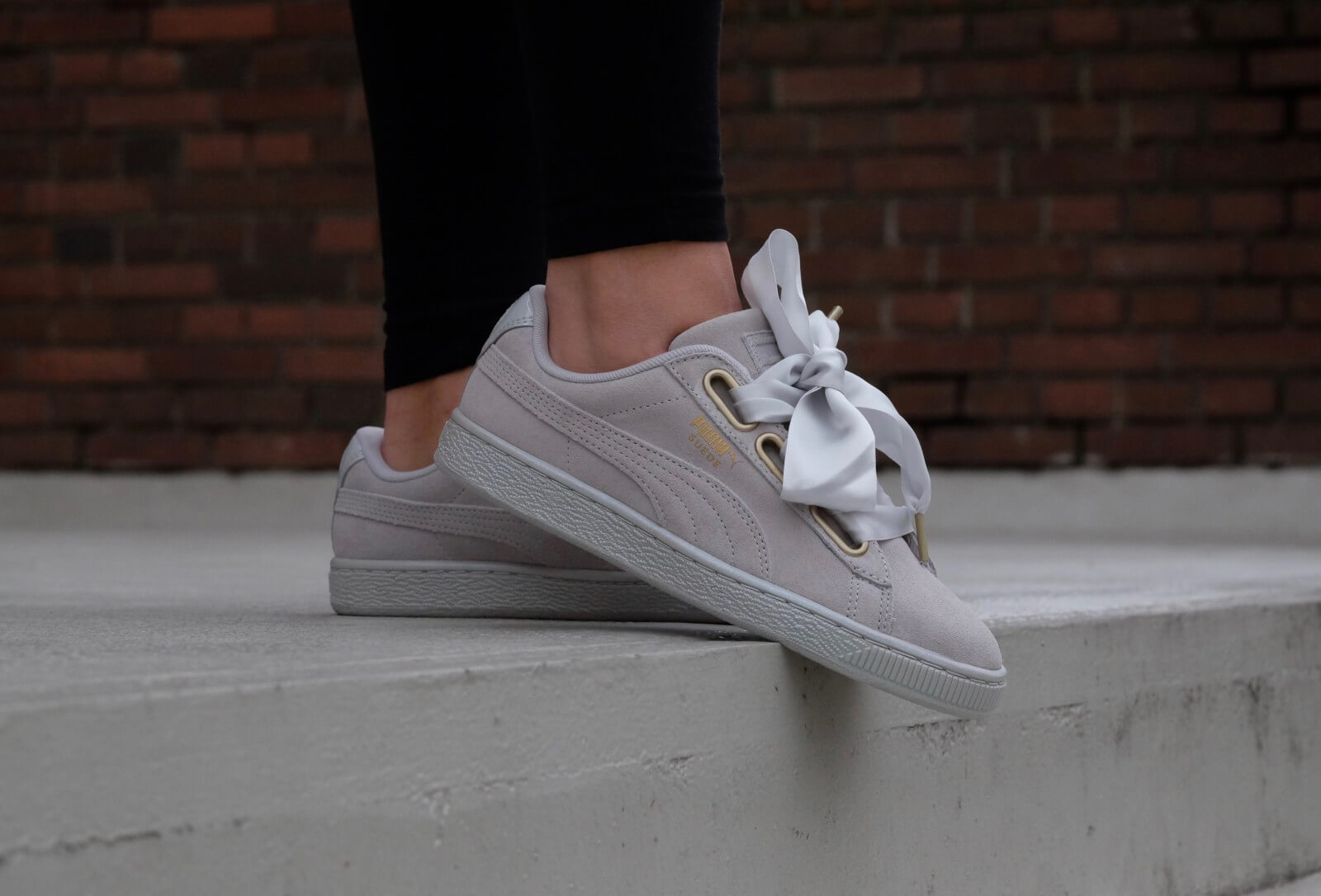 puma basket heart satin