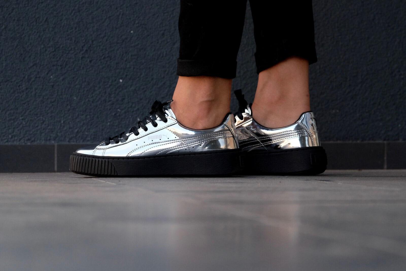 Puma Metallic Basket Platform Sneakers In Silver
