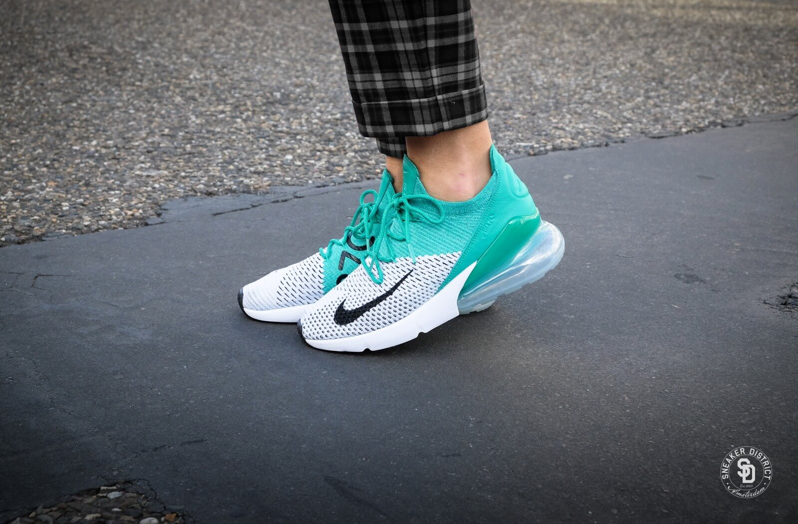 ed94bd4bb4bc Nike Women S Air Max 270 Flyknit Clear Emerald Black White Ah6803 300