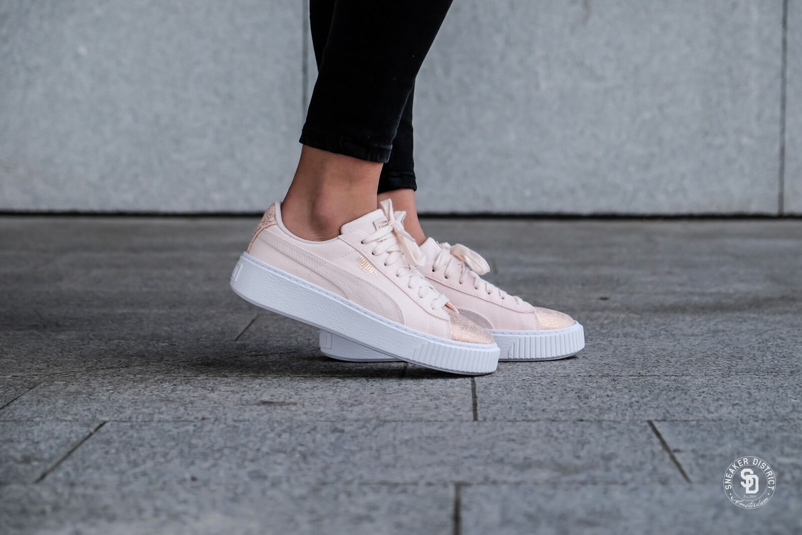 Puma Basket Platform Canvas pearl-rose gold qoaVgrL