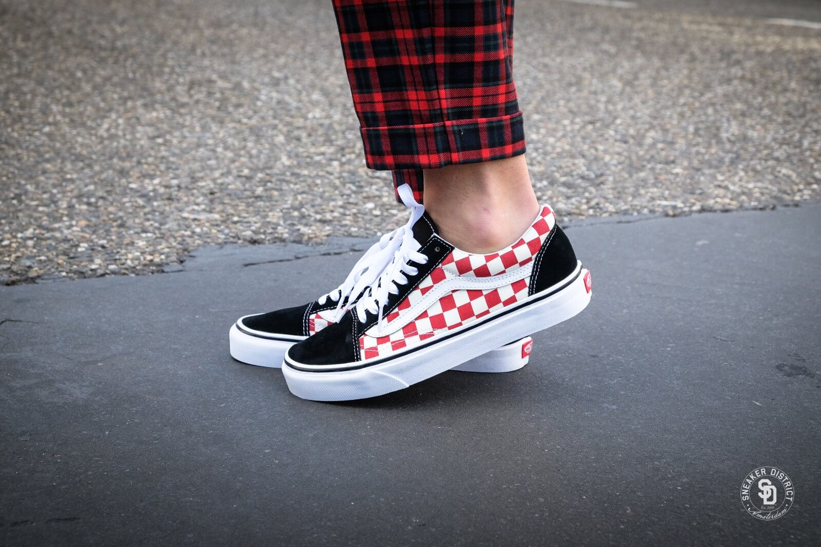 Vans Old Skool Checkerboard BlackRed VNOA38G135U