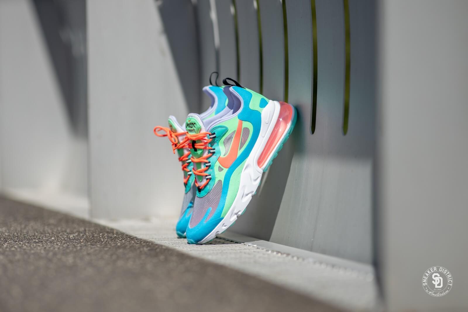 Nike Women's Air Max 270 React Electro GreenFlash Crimson Blue Lagoon