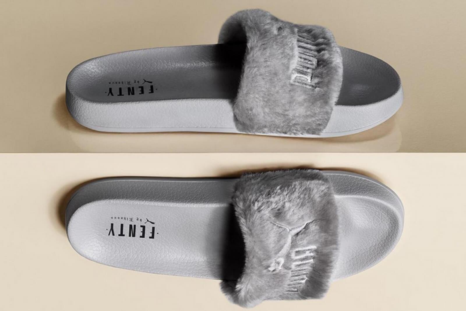 Puma X Rihanna Fenty Slides Leadcat Fenty Quarry Puma Silver